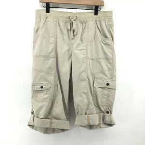 Style & Co Khaki Pull On Cargo Knee Length Shorts